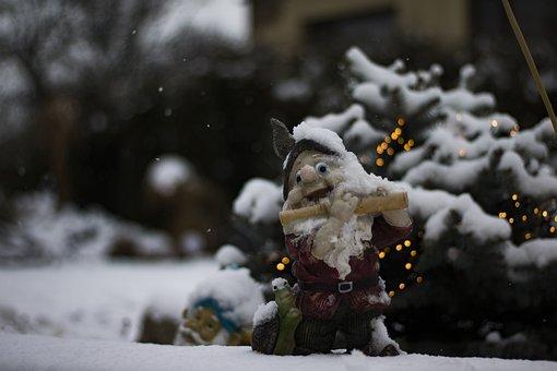 Gnome, Dwarf, Snow, Winter, White, Bokeh, Nature