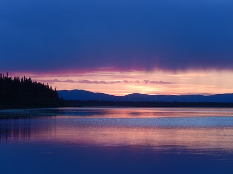 Water, Sunset, Dawn, Lake, Reflection, Alaska, Denali