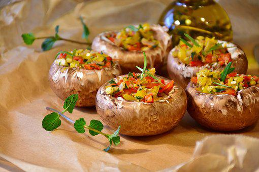 Mushrooms, Brown Mushrooms, Herbs, Filled, Filling, Eat