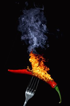 Pepper, Sharp, Flare-up, Burn, Hot, Smoke