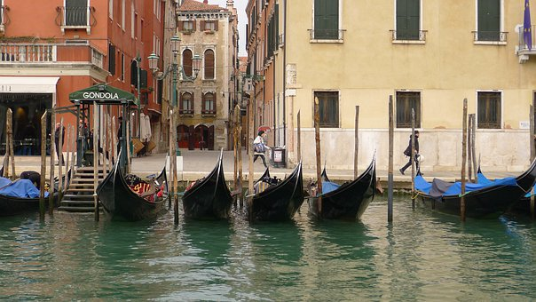 Gondola, Venetian, Canal, Gondolier, Lagoon, Water