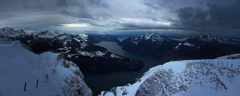 Nature, Snow, Panorama, Ice, Waters, Switzerland