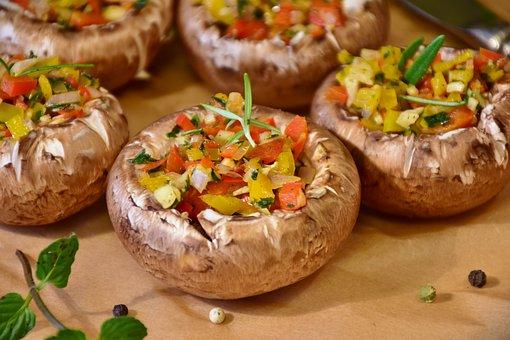 Mushrooms, Brown Mushrooms, Herbs, Filled, Preparation