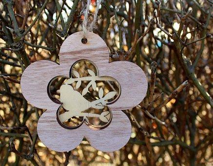 Flower, Bird, Ornament, Pendant, Decoration, Nature