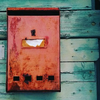 Door, House, Retro, Postbox, Mailbox, Green, Red