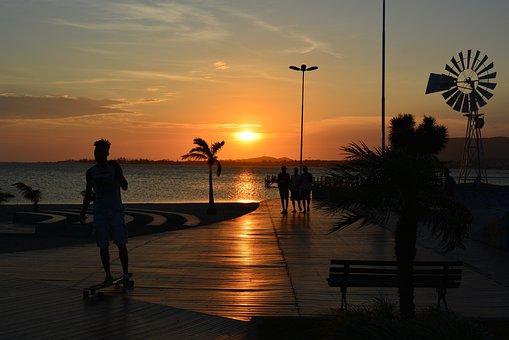Sunset, Body Of Water, Dawn, Beach, Sol, Sky, Summer