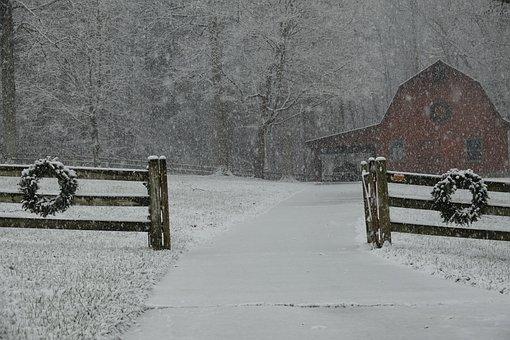 Winter, Snow, Barn, Holiday, Christmas