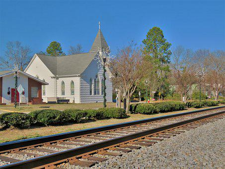 Travel, Sky, Outdoors, Railroad Track, Church