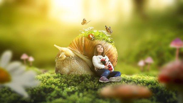 Girl, Nature, Outdoors, Little, Grass, Sunlight, Snail