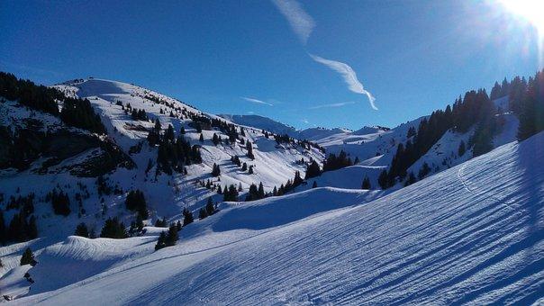 Snow, Winter, Mountain, Panoramic, Panorama, Alpine