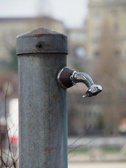 Faucet, Iron, Old, Grey, Blue, Grey Blue, Stainless