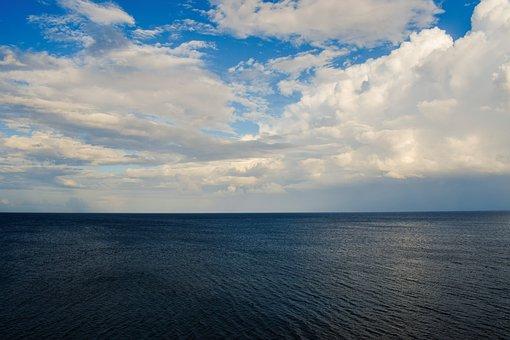 Sea, Infinity Blue, Ocean, Nature, Panoramic, Sky