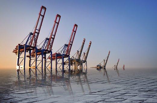 Sea, Waters, Sky, Industry, Pier, Mirroring, Fantasy