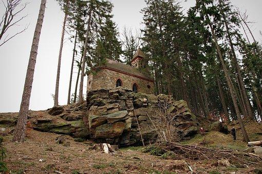 Church, Rocks, Bedrock, Forest, Chapel, Mountain, Hill