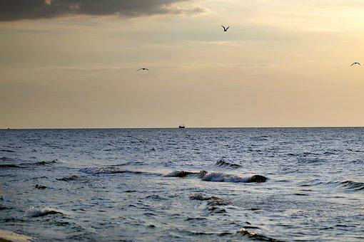 Sea, Ships, The Horizon, Water, Holidays, Sunset, Ocean