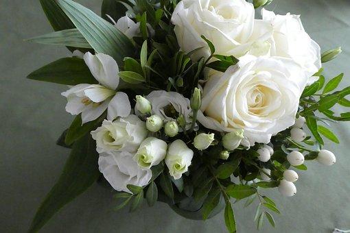 Bouquet, Wedding, Silk, White