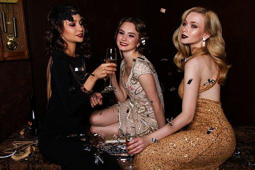 Three, Blonde, Hair, Glitter, Glamour, Luxury, People