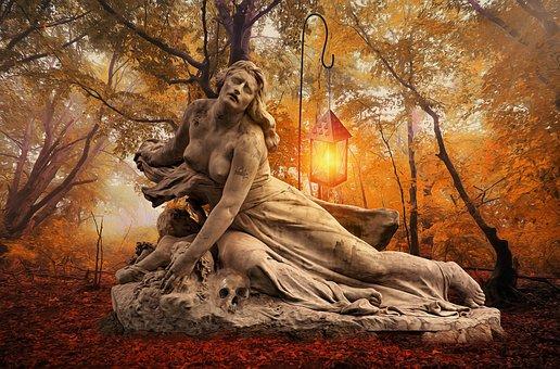 Gothic, Fantasy, Dark, Statue, Forest, Trees, Mist