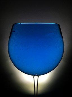 Glass, Wine, Backlight, Blue, Blue Water, Blue Wine