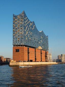 Waters, Architecture, Travel, City, Sky, Hamburg