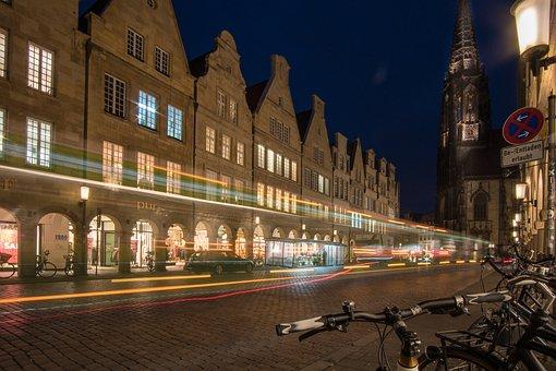 Architecture, Travel, Illuminated, City, Dusk, Münster