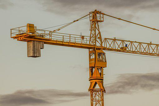 Industry, Crane, Sky, Clouds, Dusk, Evening