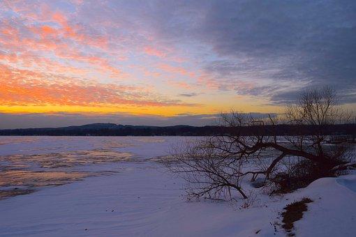 Winter, Landscape, Ice, Snow, Sky, Sunset, Nature, Cold