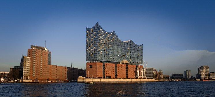 Waters, Architecture, Panorama, Sky, Travel, Hamburg
