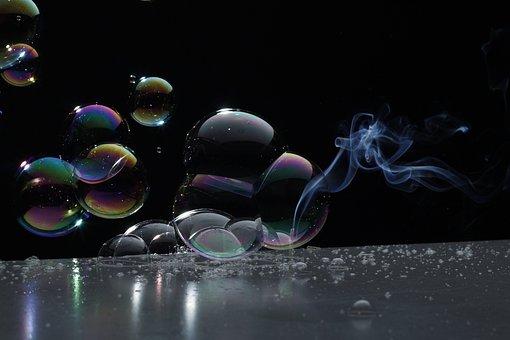 Background, Slightly, Color, Smoke, Soap Bubble