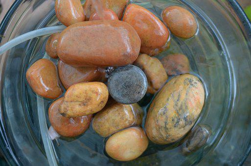 Stones, Source, Water, Glass, Water Cooler, Nature