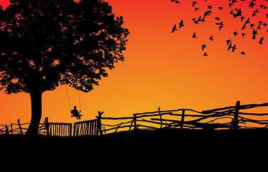 Silhouette, Sunset, Dawn, Tree, Sun, Sky, Nature