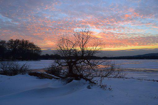 Sunset, Winter, Frozen, Landscape, Tree, Lake, Nature