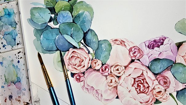 Painting, Peonies, Art, Brushes, Colors, Flowers
