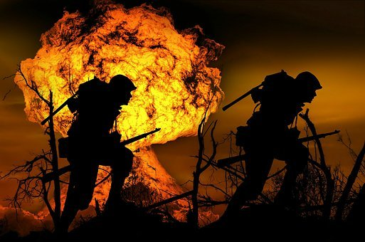 Explosion, War, Soldier, Run, Attack, Silhouette