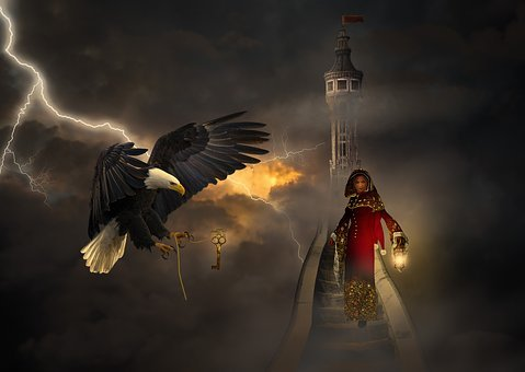 Bird, Fantasy, Mystical, Clouds, Flash, Woman, Light