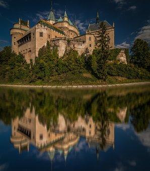 Bojnice, Bojnice Castle, Reflection, Water, Ditch