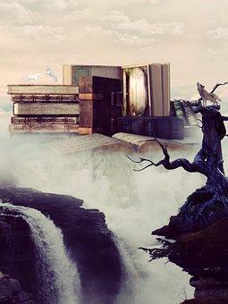 Books, Landscape, Wolf, Unicorn, Fairy Tales, Fantasy