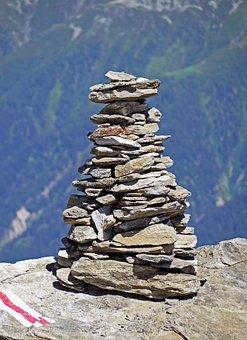 Alpine, Cairn, Wegemarkierung, Climbing