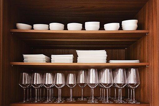 Wood, Shelf, Glasses, Tableware, Cover, Drink, Cabinet