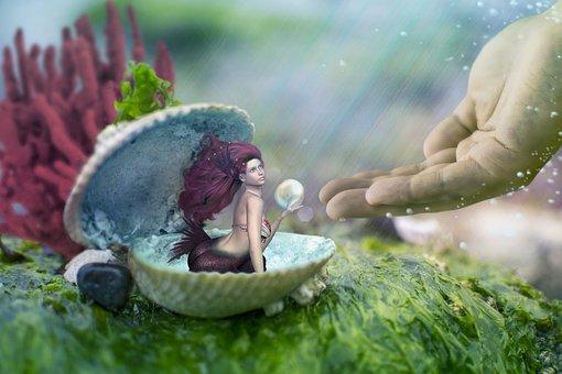 Mermaid, Shell, Hand, Underwater World, Sea Shell