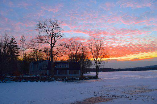 Sunset, Winter, House, Lake, Frozen, Landscape, Ice