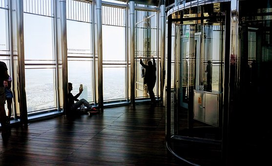 Reflection, Indoors, Window, Architecture, Lobby