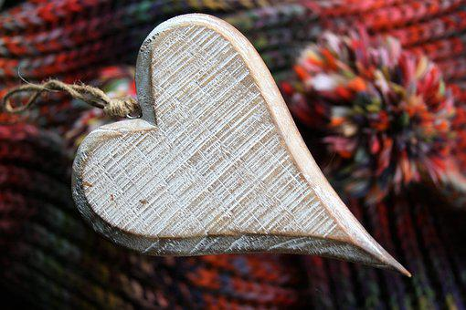 Feeling, Heart, Wood, Lovely, Wool, Model, Crafts