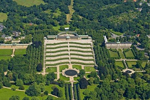 Architecture, Travel, Aerial View, Sanssouci, Castle