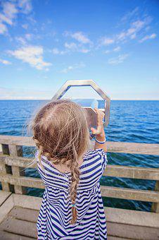 Summer, Sea, Waters, Nature, Sky, Girl, Child, Plait