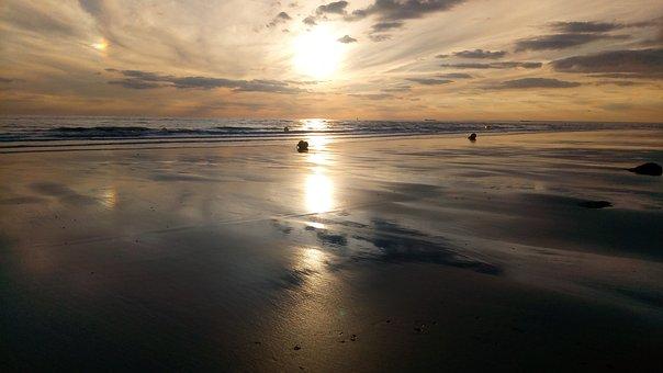 Sunset, Sun, Dawn, Body Of Water, Beach, Nature, Sea