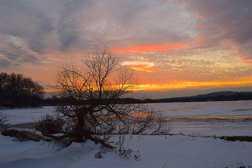Sunset, Landscape, Winter, Snow, Nature, Sun, Sky
