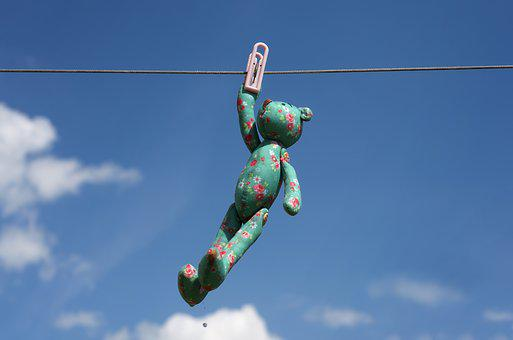 Toy, Pin, Clothesline, Childhood, Toy Bear, Sky, Summer