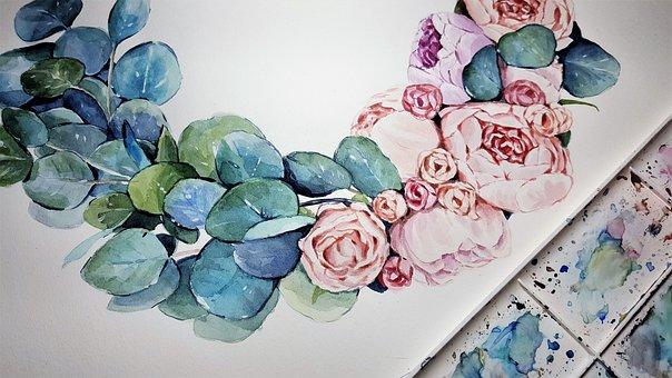 Art, Painting, Watercolor, Flowers, Peonies, Plants
