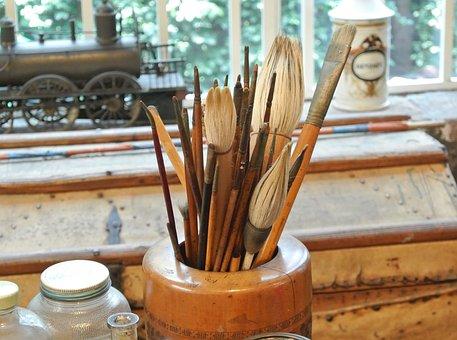 Wood, Brushes, Brush, Creativity, Paint, Oil, Paintings